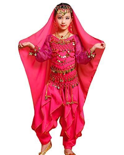 Guiran Kinder Mädchens Damen Faschings-Kostüm Indische Bauchtänzerin Kostüme Rose M Höhengeeignet - 80's Dance Mädchen Kostüm