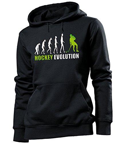 love-all-my-shirts Hockey Evolution 618 Sport Frauen Damen Hoodie Pulli Kapuzen Pullover Kapuzenpullover Sportbekleidung Sport Fanartikel Schwarz Aufdruck Grün S