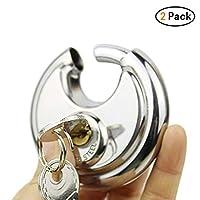 Zhongke 2 Pack Discus Padlocks 70mm Round Circular Padlocks Great for Indoor and General Purpose Application
