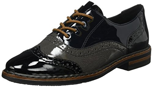 Rieker Damen 50603 Brogues, (schwarz/fumo/Nightblue), 39 EU