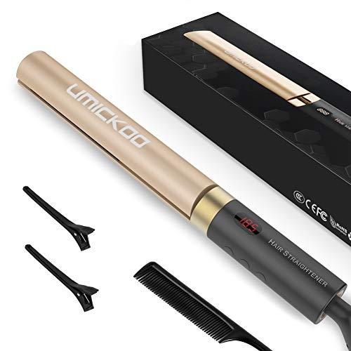 Haarglätter UMICKOO Glätteisen Straightener Professional Glätten und Locken für Haarstyling: Glätteisen 2 in 1 Lockenstab mit LED-Display Temperatur und Salon-Hitze 12 Ebenen120-230 ℃ (Golden)