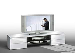 Matelpro-Meuble TV design laqué blanc Rayane