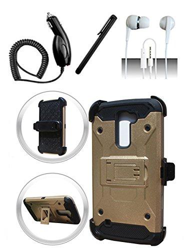 LG K10Premier LTE L62VL L61AL di oro/nero ibrido armatura doppio strato di W/supporto integrato + caricabatteria da auto + pennino + 3.5mm auricolare