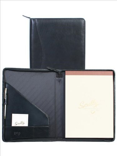 Scully Italian Calfskin Leather Zip Letter Pad (Black) by Scully (Scully Zip)