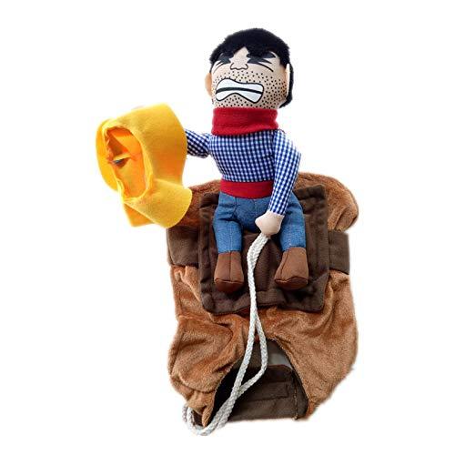 GTMECJ Haustier Kostüm Puppe Cowboy Ritter Teddy Hund Reiten lustige nehmen einen Hut Geld Tasche Hund Kleidung (Hunde Geld Tasche Kostüm)