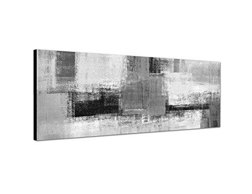 Keilrahmenbild Panoramabild SCHWARZ / WEISS 150x50cm Kunstmalerei abstrakt grau gelb weiß