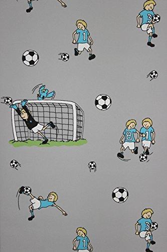 Preisvergleich Produktbild Vlies Tapete Fußball Kinder Jungen Zimmer Fussball Tapete grau türkis grün
