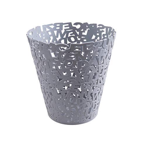 Mülleimer aus Kunststoff mit Buchstabenhohlem Papierkorb, für Badezimmer, ohne Abdeckung, Haushalt, Wohnzimmer, Küche, groß grau