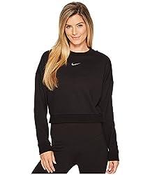 Nike Damen Dry Crewneck Crop Langarm-trainingsoberteil, Black(white), Xs