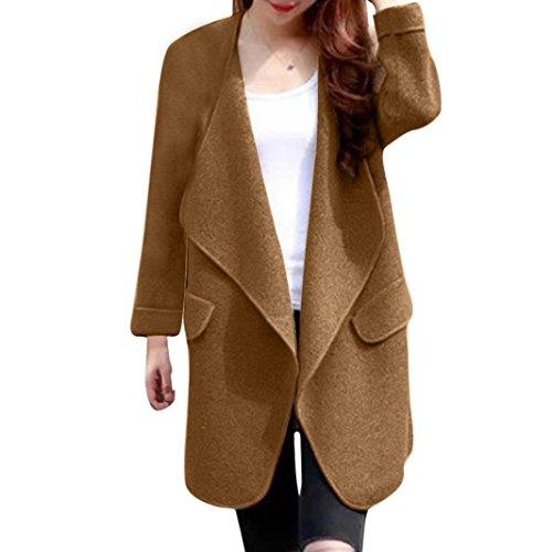 Rcool Dame Winter Major Revers Pocket Wolle Blend Mantel Long Trench Coat Oberbekleidung Wolle Mantel (Kaki)