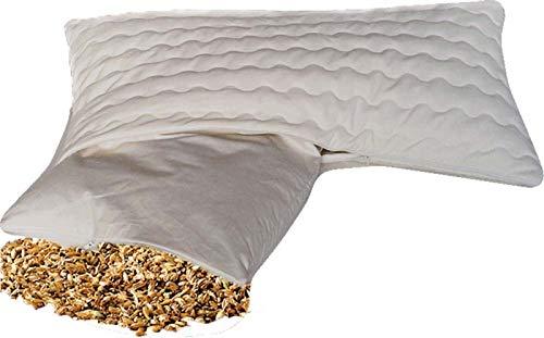 BIO Dinkelkissen Komfort 40 x 80 cm staubdichte Baumwoll Kissenhülle ( Kissen-Inlett ) - mit BIO Dinkelspelz / Dinkelspreu Füllung und abnehmbarem waschbarem Komfortbezug Baumwolle mit Reißverschluss