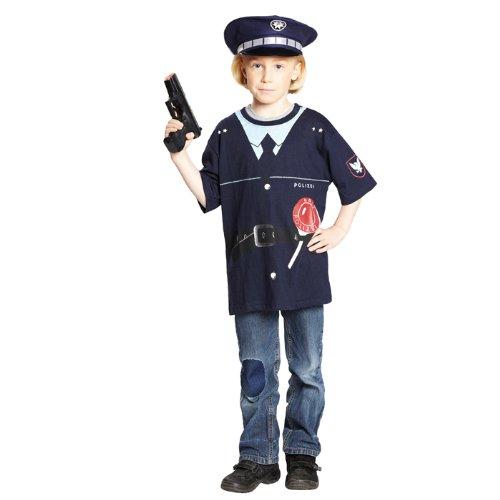 NEU Kinder-Kostüm Polizei-Shirt, blau Gr. 116