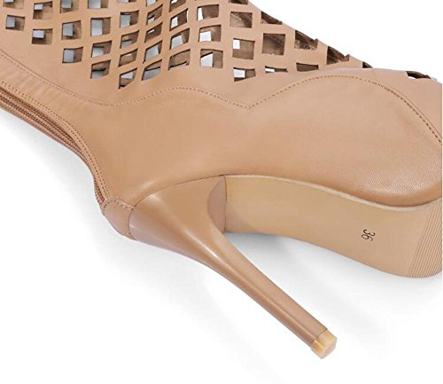 Beauqueen Pumps über Knie Stiefel Slouch Gladiator Hohle Peep-Toe Stilett High Heel Sommer Sandalen Reißverschluss Casual Customized Europa Größe 32-43 Yellow