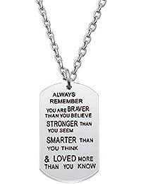 AGR8T - Colgante para nieto, diseño con texto en inglés «Always Remember you are Braver Stronger Smarter than you seem»