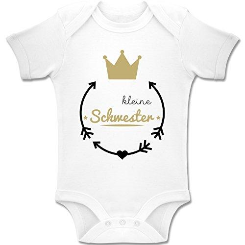 Shirtracer Geschwisterliebe Baby - Kleine Schwester - Krone - 1-3 Monate - Weiß - BZ10 - Baby Body Kurzarm Jungen Mädchen