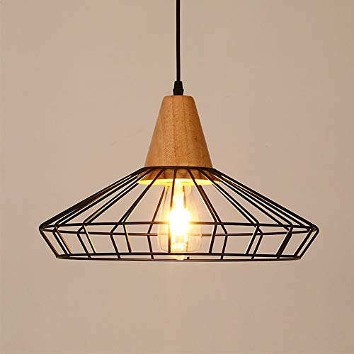 CHAOZAN Lámpara de Techo Lámpara Industrial Luz Vintage Lámpara Colgante Luz de Pantalla Jaula de Hierro Estilo Rústico Casquillo E27 para Decoración Interior Comedor, Negro,Ø40cm