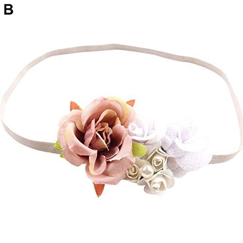 lamta1k Haarband für Neugeborene, mit Blume und lebendigen Farben, natürliches Aussehen, B -