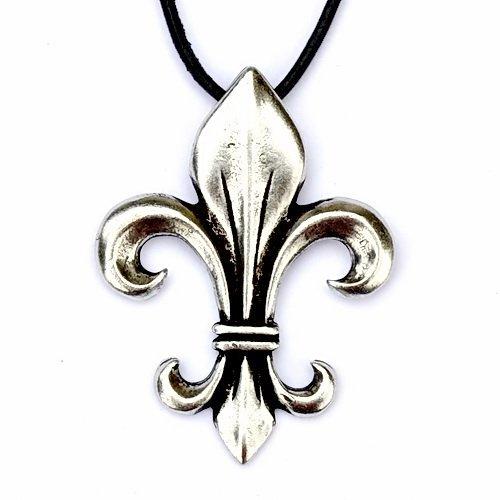 Amulett Lilie - Ein edler Anhänger in Form der Fleur de Lys nach Vorbildern aus dem Mittelalter Farbe silberfarben