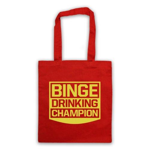 Drinking Binge Champion Funny Slogan Tote Bag Rosso