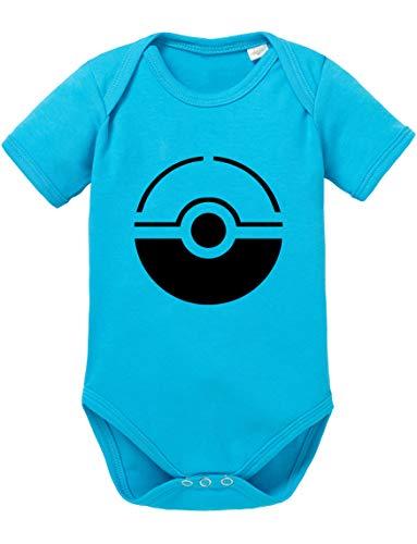 Poke Line Baby Strampler Poké Bio Star Baumwolle Ball Body Jungen & Mädchen 0-12 Monate, Größe:62/2-3 Monate, Farbe:Türkis
