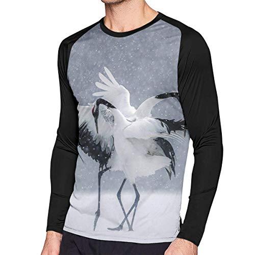 Herren Langarm Classic T-Shirt, Men's Casual Dancing Cranes Long Reglan Jersey Baseball T-Shirt -