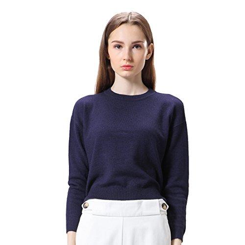 La Camicia di Copertura Maglione Allentato Nuovi Pulsanti Decorativi Donne(XS Blu)
