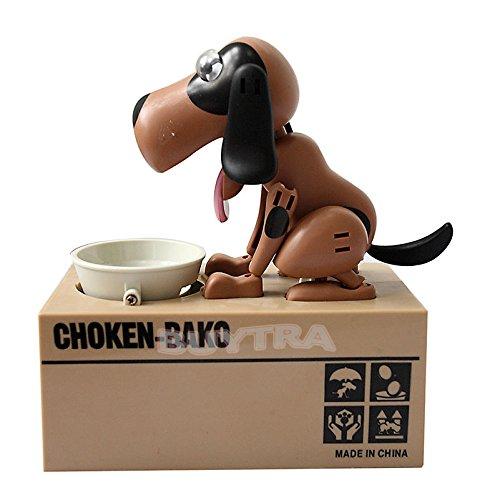 AST Works Choken Puppy Hungry Eating Dog Coin Bank Money Saving Box Piggy Bank Present KX