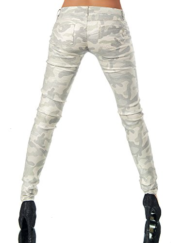 L521 Damen Jeans Hose Hüfthose Damenjeans Hüftjeans Röhrenjeans Leder-Optik Camouflage-Beige