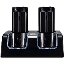Prous - Cargador 4 en 1 para mando a distancia Wii, LU06 Wii con cuatro pilas recargables Wii e iluminación LED para Nintendo Wii (mando a distancia), color negro