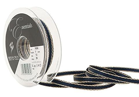 Berisfords 7 mm Polyester Yarn Gold Edge Satin Ribbon, Navy