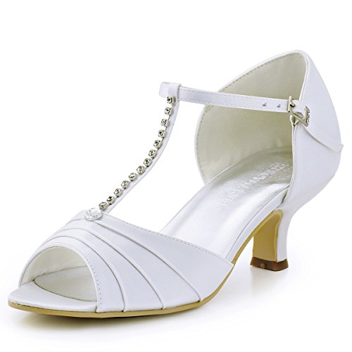 Elegantpark el-035 donna peep toe medio strass increspato t-strap da sposa in raso di promenade nuziale pompa i pattini bianco eu 41