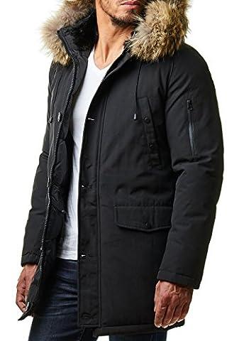 EightyFive Herren Parka Winter Mantel Lang Jacke Fell Kapuze Schwarz Khaki EF7012, Größe:2XL, Farbe:Schwarz