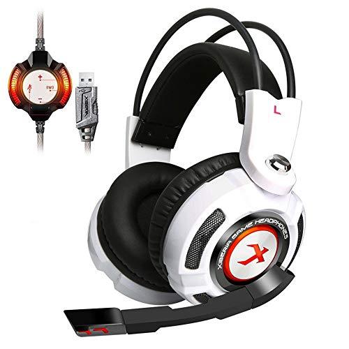 99native XIBERIA K3 Gaming Headset Kopfhörer mit Mikrofon,Kopfhörer für Surround Stereo Gaming Kopfhörer 3,5 mm mit Mikrofon für PS4 / Xbox/ONE Noise Cancelling PC/Laptop (Weiß)