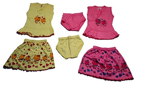 Cutiepie Collection Kids Tshirt, skirt and panty Combo pack set for baby girl (0 - 6 months)