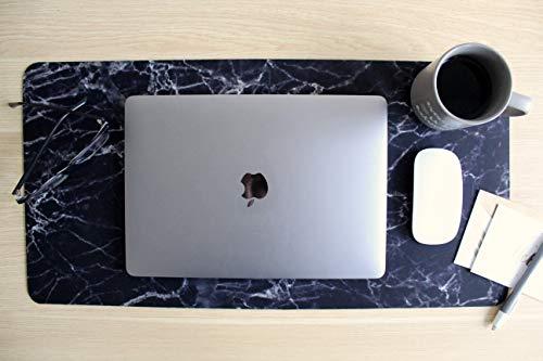 Koodio Products Großes Schreibtisch-Mauspad für Laptop, rechteckig, erweitertes Mauspad, 59,9 x 30,5 cm, wasserfest, rutschfest, rechteckig, für Home Office und Gaming schwarzer Marmor -