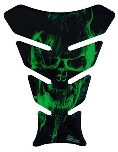 Tankpad 3D - 500142 - Ghost Green Totenkopf-Motiv/Flammen Grün - universell für Yamaha, Honda, Ducati, Suzuki, Kawasaki, KTM, BMW, Triumph und Aprilia Tanks