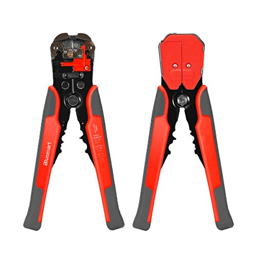 Abisolierzange, Blusmart Selbst Anpassen der automatischen Abisolierzange mit ProTouch Grips AWG 24-10 (0,2 ~ 6,0 mm2) - Crimpzange, Cutter und Quetschverbinder (orange mit Gray)