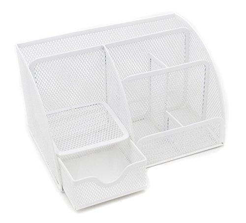 Generic-organizer da scrivania in rete, contenitore di cancelleria, portapenne, colore: bianco