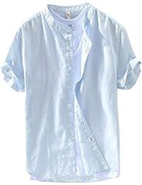ShiFan Camisa De Lino Hombre Manga Corta Cuello Mao con Botones