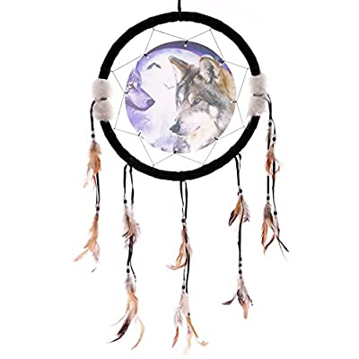 Wolves with Moon and Bat Background 3D Picture Dreamcatcher