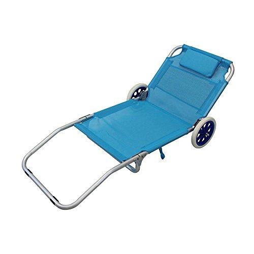 Spiaggina carrello pieghevole alluminio colore riga blu