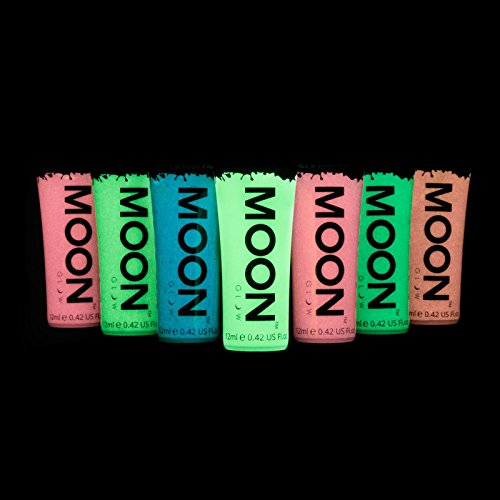 moon-glow-12ml-glow-in-the-dark-face-body-paint-set-of-7-phosphorescent-charge-to-glow-uv-keyring-in