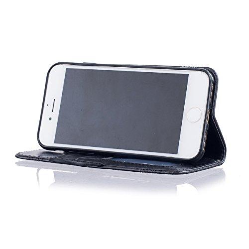 Etsue iPhone 7 Coque, iPhone 7 Housse, iPhone 7 Portefeuille Coque ,Gaufrure Folio Luxe 3D en PU Cuir Gravée en Relief du Fleur Motif Protecteur Coquilles Bumper pour iPhone 7 Etui con intérieure en S Noir