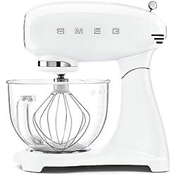 Smeg SMF13WHEU Robot de cuisine 800 W, verre, 10 vitesses, aluminium, blanc