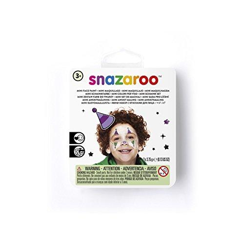 Snazaroo 1172089 Kinderschminke Mini Set Clown, 3 Schminkfarben, Farben: Lila, Weiß, Grün, 1 Pinsel, 1 Schwämmchen