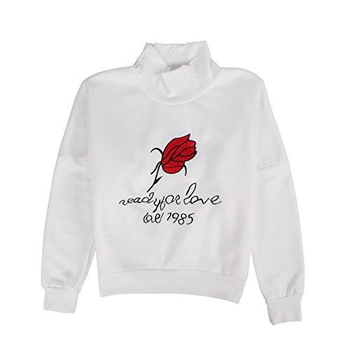 Lychee Felpa Girocollo con Rose Lettera ricamo Stampa Maniche Lunghe Causale Elegante Bianco