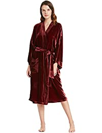 LILYSILK Robe de Chambre Hiver Femme Soie   Velours Peignoir Chaud Longue  Oversiez à Ceinture Poches 87f7ad7e1e65