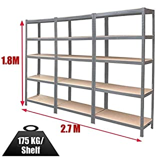 Autofather Pack-3 Garage Storage Shelving Units 180cm x 90cm x 40cm Metal 5 Tier Shed Warehouse Racking 175KG Load Capacity Per Shelf, Galvanised