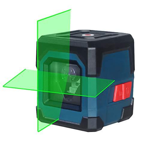 Nivel Láser Verde,HANMATEK LV1G Láser Nivel Cruzado Horizontal y Vertical Láser Autonivelación 1M Resistente IP54 Anti-Salpicaduras (batería incluida)