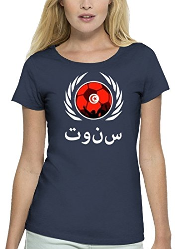 ShirtStreet Tunisia Fussball WM Premium Fanfest Damen T-Shirt Bio Baumwolle Stanley Stella Fußball Tunesien Navy